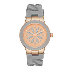 Womens Gray Chain Silicone Strap Watch