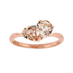 Genuine Morganite and Diamond Accent 14K Rose Gold Ring