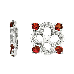 Diamond Accent & Genuine Garnet Sterling Silver Earring Jackets