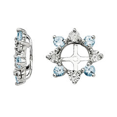 Diamond Accent & Genuine Aquamarine Sterling Silver Earring Jackets