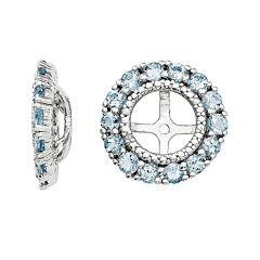 Diamond Accent and Heat-Treated Aquamarine Earring Jackets
