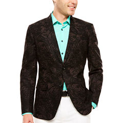 JF J. Ferrar Black Palm Linen Cotton Sport Coat-Slim