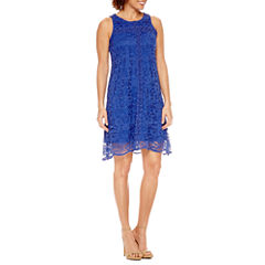 DR Collection Sleeveless Lace A-Line Dress-Petites