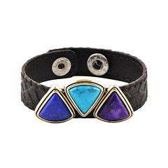 Art Smith by BARSE Multicolor Howlite Brass & Leather Bracelet
