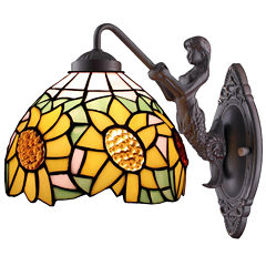 Amora Lighting AM1074WL08 Tiffany Style SunflowerWall Lamp