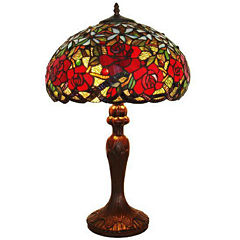 Amora Lighting AM1535TL16 Tiffany Style Red RosesTable Lamp 24 In