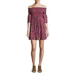Arizona 3/4 Sleeve Pattern Fit & Flare Dress-Juniors