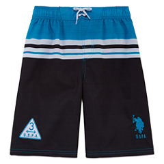 U.S. Polo Assn. Boys Color Block Swim Trunks-Big Kid