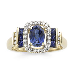 1/7 CT. T.W. Diamond & Genuine Blue Sapphire 10K Gold Ring