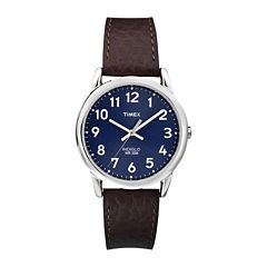 Timex® Easy Reader Mens Brown Leather Strap Watch T2P3197R