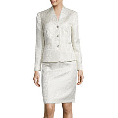 Isabella Long-Sleeve 3-Button Floral Jacquard Jacket and Skirt Suit Set