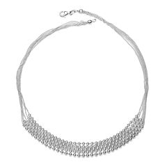 Sterling Silver Layered Bead Necklace