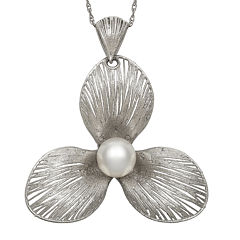 Cultured Freshwater Pearl Sterling Silver Flower Pendant Necklace