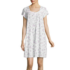 Adonna Jersey Short Sleeve Floral Nightgown-Petites