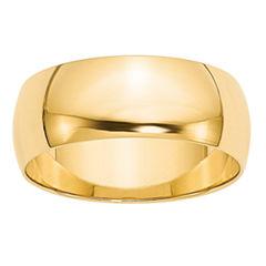Personalized 14K Yellow Gold Half Round Lightweight Wedding Band