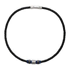Inox® Jewelry Mens Celtic Knot Stainless Steel & Black Leather Braided Necklace