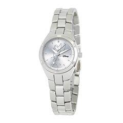 Disney Fortaleza Tinkerbell Womens Silver-Tone Watch