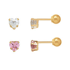 Infinite Gold™ Kids 14K Yellow Gold Pink and White Cubic Zirconia Heart Stud 2-pr. Earring Set