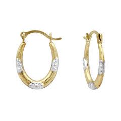 Girls 14K Two-Tone Gold Oval Hoop Earrings