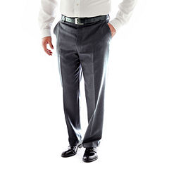 Stafford® Travel Charcoal Pleated Suit Pants - Portly