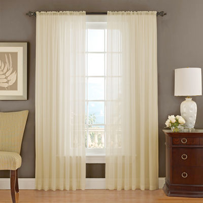 vue signature textured chiffon rodpocket curtain panel - Sheer Curtain Panels