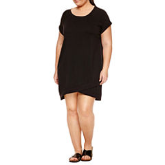 Xersion™ Short Sleeve Sweater Dress-Plus