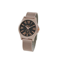 Geneva Platinum Womens Rose Goldtone Strap Watch-9477