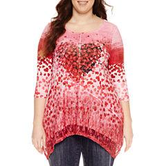 Unity World Wear 3/4 Sleeve Scoop Neck Pattern T-Shirt-Womens Plus