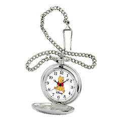Disney Mens Winnie the Pooh Silver-Tone Pocket Watch