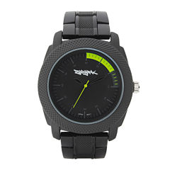 Zoo York® Mens Matte Black And Yellow Bracelet Watch