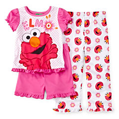 Sesame Street Elmo 3-pc. Pajama Set - Toddler Girls 2t-4t