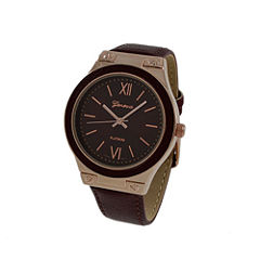 Geneva Platinum Womens Brown Strap Watch-10048