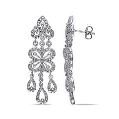 Diamond Accent Sterling Silver Drop Earrings
