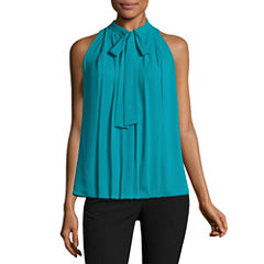 Worthington Sleeveless Tie Neck Blouse