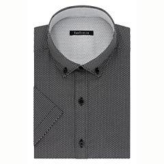 Van Heusen Short Sleeve Woven Pattern Dress Shirt - Slim