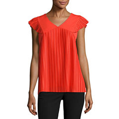 Worthington Pleated Flounce Sleeve Top