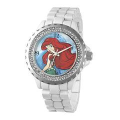 Disney Ariel Womens Crystal-Accent White Bracelet Watch