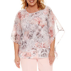 Alfred Dunner Short Sleeve Crew Neck Woven Floral Blouse-Plus