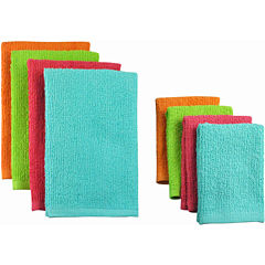 Set of 8 Terry Bright Dish Towels and Dish Cloths