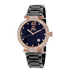 Jivago Womens Bijoux Black Faux Pearl Dial Black Ceramic Bracelet Watch