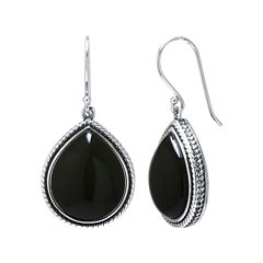 Genuine Black Onyx Sterling Silver Drop Earrings