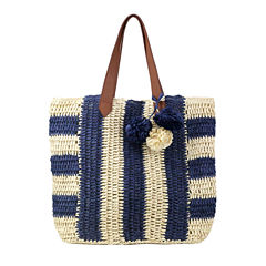 Olivia Miller Pippy Multi Striped Straw Tote Bag