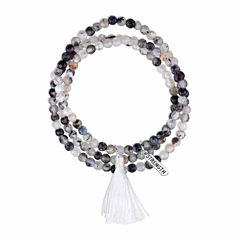 Bridge Jewelry Womens Gray Silver Over Brass Wrap Bracelet