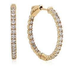 1 CT. T.W. White Diamond 14K Gold Hoop Earrings