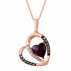 LIMITED QUANTITIES Grand Sample Sale™ by Le Vian® Genuine Rhodolite and Chocolate Quartz® Heart set in 14K Strawberry Gold® Pendant Necklace
