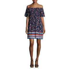 My Michelle Short Sleeve Floral A-Line Dress-Juniors