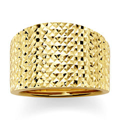 14K Yellow Gold Textured Wide Ring