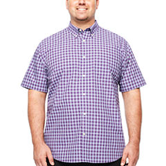 The Foundry Big & Tall Supply Co. Short Sleeve Checked Button-Front Shirt-Big and Tall