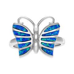 Genuine Blue Opal Sterling Silver Butterfly Ring