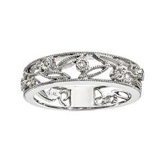Diamond Accent 14K White Gold Flower Ring